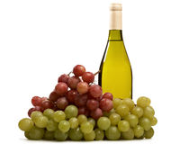 Bottle of wine with grapes isolated. On a white background Stock Image