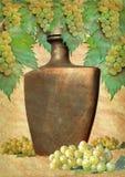 Bottle with wine grunge Stock Photos
