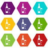 Bottle of wine icon set color hexahedron. Bottle of wine icon set many color hexahedron isolated on white vector illustration Stock Photos