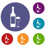 Bottle of wine icons set Stock Photos