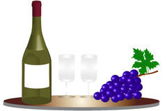 Bottle of wine - illustration Royalty Free Stock Images