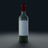 Bottle of wine isolate on black background. 3D scene Royalty Free Stock Images