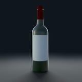 Bottle of wine isolate on black background. Royalty Free Stock Images