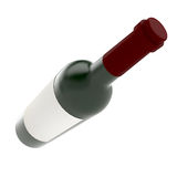 Bottle of wine isolate on white background. 3D scene Royalty Free Stock Photo