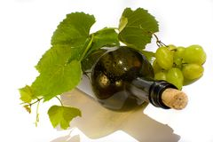 Bottle of wine isolated on white background Stock Images