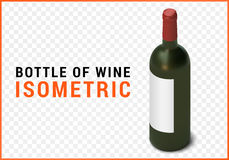Bottle of wine isometric flat vector. 3d illustration  on white background Stock Photos