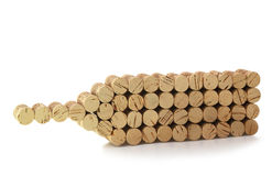 Bottle of wine made from wooden corks Stock Image