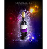 Bottle of wine, neon collection Royalty Free Stock Photos