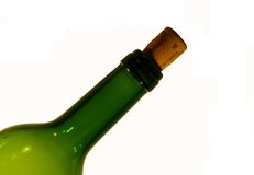 Bottle of wine. Open glass bottle of white wine Royalty Free Stock Photo