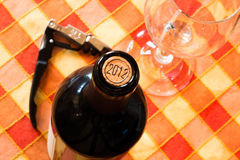 Bottle of wine in 2012 Stock Photos