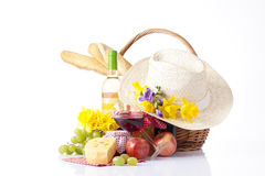 Bottle of wine and picnic  food Royalty Free Stock Photo