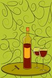 Bottle of Wine Postcard Royalty Free Stock Photo