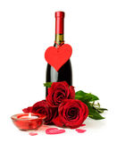 Bottle of wine , red roses and candle Stock Photography