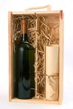 A bottle of wine and a scroll. In wooden box Stock Photography