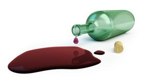 Bottle of wine spilled Royalty Free Stock Photos