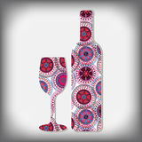 Bottle of wine in the style boho Royalty Free Stock Photos