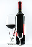 A bottle of wine and three glasses - composition Stock Photo