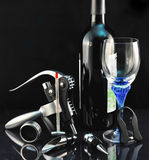 Bottle of wine and tools for sommelier Royalty Free Stock Photo