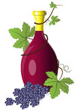 Bottle of wine twined with grape Stock Photo