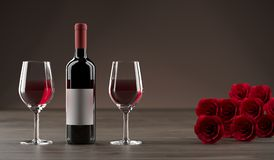 Bottle Of Wine With Two Glasses Next to It And A Red Rose Bouquet. 3D Rendering Of Bottle Of Wine With Two Glasses Next to It And A Red Rose Bouquet On Wooden Stock Photo