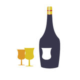 Bottle wine and two glasses vector illustration Royalty Free Stock Photography