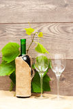 Bottle of wine and two glasses Stock Image