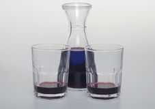 A bottle of wine with two glasses. Royalty Free Stock Photography
