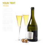 A bottle of wine on a white background with two glasses. Of (with sample text Stock Image