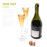 A bottle of wine on a white background with two glasses. Of (with sample text Stock Photography