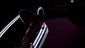 The bottle of wine, the wine is poured into a glass, black, closeup, slowmotion stock video footage
