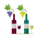 Bottle of Wine and Wineglass. Bottles of white and red wine and wineglasses with bunches of wine grapes. Bottles with label and glasses of wine. Wineglasses full Stock Photo