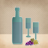 Bottle of wine, wineglass and grape cartoon retro background Stock Photography