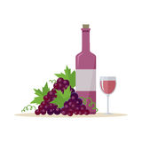 Bottle of Wine and Wineglass. Bottle of red wine and wineglass with bunches of wine grapes. Bottle with label and glass of red wine. Wineglass full of red wine Stock Image