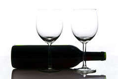 Bottle of wine and wineglasses Stock Images