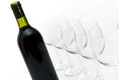 Bottle of wine and wineglasses Royalty Free Stock Photography