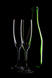 Bottle of wine and wineglasses Royalty Free Stock Photo
