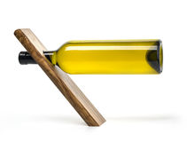 Bottle wine on wooden stand Stock Photography