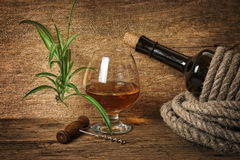 Bottle of wine wrapped with rope Royalty Free Stock Photography