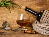 Bottle of wine wrapped with rope Stock Image