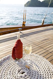 Bottle of wine on a yacht stock images