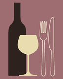 Bottle, wineglass and cutlery Royalty Free Stock Photo