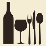 Bottle, wineglass and cutlery Stock Photo