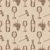 Bottle, wineglass, grapes, corkscrew, seamless pattern on beige background Stock Photo