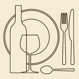 Bottle, wineglass, plate and cutlery Stock Photography