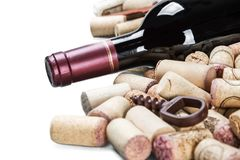 Free Bottle With Red Wine And Wine Stoppers Isolated Stock Images - 117430884