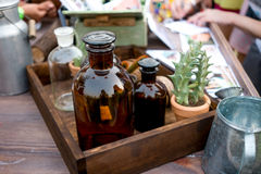 Bottle in wooden box Royalty Free Stock Photography