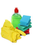 Bottle and yellow gloves Royalty Free Stock Photo