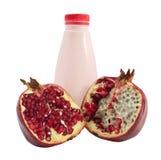 Bottle of yogurt and pomegranate Stock Images