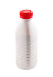 Bottle with yogurt on white Stock Photos