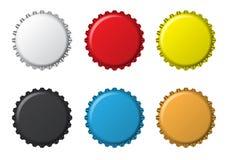 Bottlecaps aislados de los colores Imagen de archivo libre de regalías